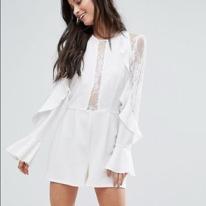 Asos John Zack Ruffle Romper with Lace Sleeves